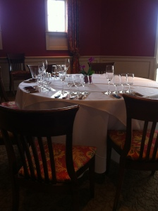 A tasting table set for the event.