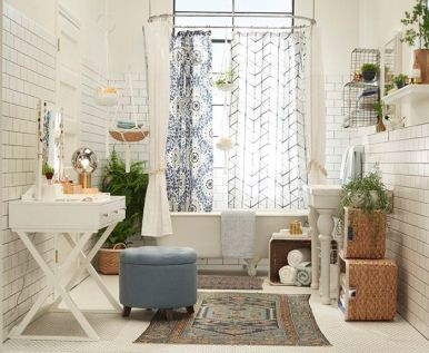 A playful mix of old and new, hard and soft in this eclectic bathroom. Found on styleandcheek.com