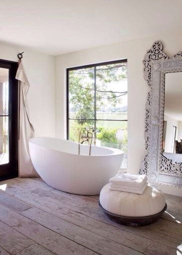 Egg shaped tub and a room with a view. Found on snobfashionsource.blogspot.com