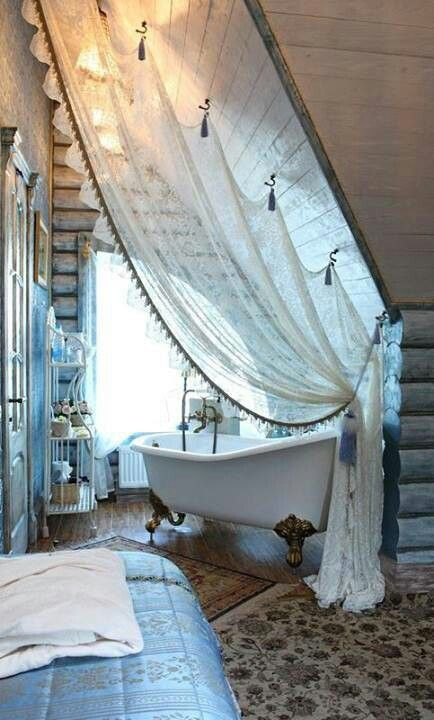 boho bathroom. I bet it s a nightmare to keep clean  but this bath is just too romantic Romantic Boho Bathroom StyleSaVie