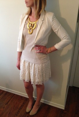 For a day that feels bright, crisp white; a cropped blazer, bold jewelery, sweater with thin gold stripe for subtle texture and a flirty lace skirt. Add nude heels to keep the focus on the multi-tonal white palette. Perfectly sweet.