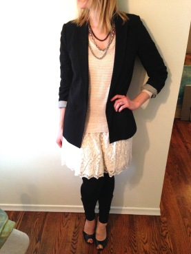 For brisk weather, and the unpredictability of those Spring days, swap in some leggings and a peep-toe wedge, a black blazer and chain necklace for a more tomboyish edge.