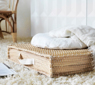 Ikea starts us off with a woven floor mat, which (at $29) is a steal even for a season, but hopefully with a mind to sustainability, this can be an indoor/outdoor piece that is simple and versatile.