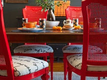 Red frames and outspoken seats.