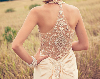 Gorgeous detailing and intricate back: a little exotic, a little art-deco.  Inspired Wedding dress reception dress flapper alternative backless dress. $749.87