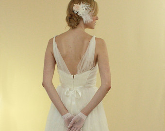 Starting to notice a trend in fabric, cut and back detailing. Ruffled Silk Wedding Dress - Lori $625.94 CAD SaintIsabel