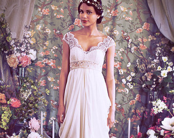 """Sweet Gatsby detailing and flattering cut. French Lace Cap Sleeve Empire Waist Sweetheart Neckline Wedding gown,Illusion Neckline, Layered Chiffon Skirt, The """"Isabella"""" Gown by Schone $2,724.09 CAD"""