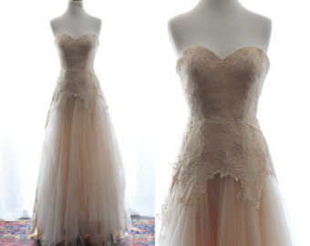 Fall Brittany Wedding Dress Gown-Gorgeous A-line champange sweetheart floor length $2,754.13 CAD TingBridal. I absolutely love the colour and vintage feel of this dress. The soft hem and peplum, with the sweetheart neck seemed in keeping with our vintage theme.