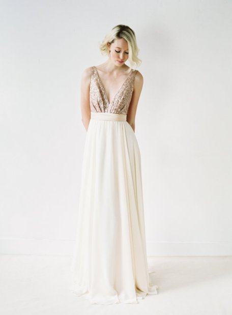 Sweet and simple. Eden // Rose Gold Sequinned, Backless Wedding Dress $1,850.00 CAD Truvelle