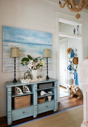 15 shades of blue; a great mash up of beachy items.  Found on beachblissliving.com