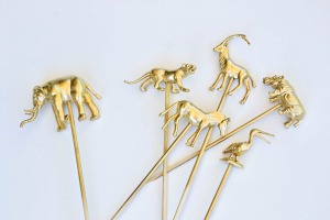 Gold animal cake toppers.