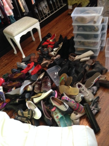 Put ALL the shoes in a pile. All items of the same type. Get them from ANYWHERE they might be hiding and put them together so you can pick them up, one at a time, for the Konmari Test.