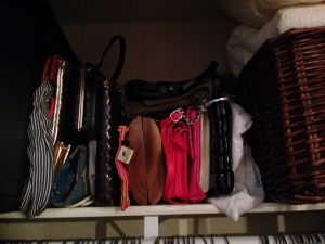 The shelf looks so tidy with the clutches nestled nicely against each other - visible and so much more likely to get used!