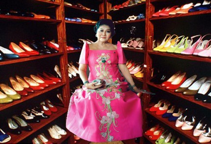 Imelda Marcos, amongst her shoe collection; impressive for a first lady of a country that was bankrupt.