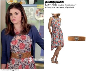 lucy hale as aria montgomery in anthropologie flower print dress with brown belt on pretty little liars season 3 episode 11